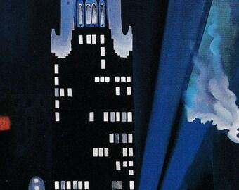 Georgia O'Keeffe American art vintage cityscape print New York skyscrapers by night urban art Radiator Building painting