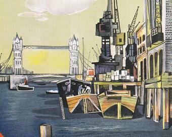 vintage London Transport Underground tube subway poster Thames Tower Bridge docks home decor  print 7.75 x 12 in