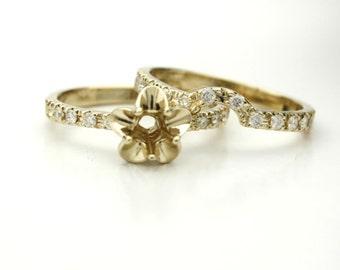 14K Yellow Gold Tulip Engagement Ring, Bridal Set, Wedding Band Diamond Semi Mount! Set Diamond, Gemstone, Moissanite. La Tulipe USA Made