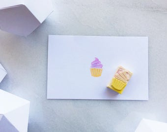 Rubber stamp, cupcake, hand carved rubber stamp
