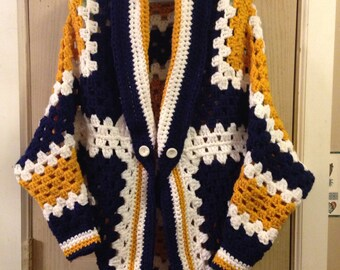 Gold & Blue WVU Mountaineer Colors - Oversized/Chunky Long Sleeved Shrug Sweater - Handmade/Hand Crocheted