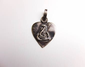 Rare Antique Gypsy Silver Heart Amulet from Rajasthan, Cobra Snake Power Talisman Pendant, Protection Serpent  Kundalini Yoga Jewelry