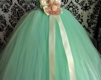 Mint Flower Girl Dress/Aqua Dress/Aqua Wedding/Girls' Dresses/Baby Girl Dresses/Mint Tulle dress/Rose Gold Dress/Wedding Dress/Portrait tutu