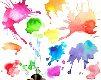 Watercolor Splashes and Drips Design Element PNG Clip Art Collection