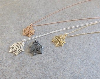 Spider Web Necklace is made of recycled sterling silver dipped in 14K gold/Great jewelry gift for her/Woodland inspired charm necklace