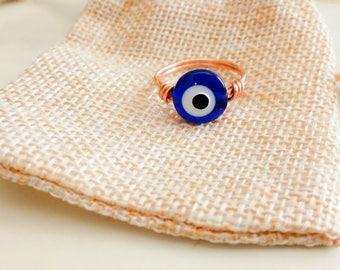 Evil Eye Ring, Greek Evil Eye, Evil Eye Midi Ring, All Seeing Eye, Protective Eye, Copper Ring, Greek Eye Ring, Dainty Ring, Tiny Wire Ring