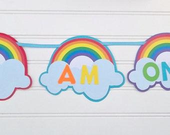 I am one rainbow banner, rainbow 1st birthday banner, rainbow birthday banner, rainbow baby shower, rainbow birthday party