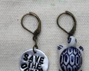 Save The Ocean Metal Stamp Earrings.