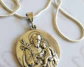 Necklace - St Joseph & Infant Jesus / Our Lady of Lourdes - Sterling Silver