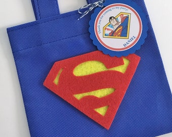 Set of 12 Superman Favor Bags with Personalized Thank You Tags, Superman Goody Bags, Superman Party Bags, Superman Birthday, Superman Party