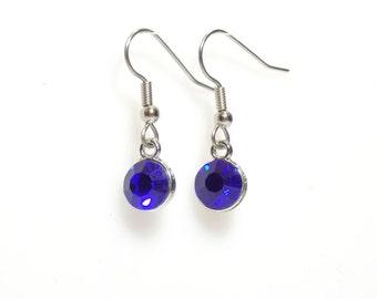 Blue crystal earrings, Birthstone earrings,  blue earrings,  September earrings,  silver earrings,  birthstone jewelry, sapphire earrings