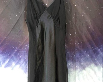 Vintage 80s Black Satin Sheer Slip | Lingerie with Sheer Top and Sides | by Dentelle | size Small