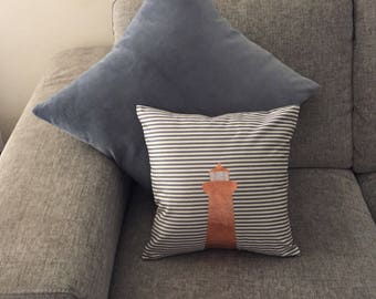 LIGHTHOUSE Copper Foil - Blue and  White Stripe Cushion