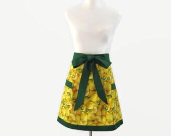 Womens Lemons Apron,  Lemon Half Apron, Lemon Full Apron, Fruit Apron, Lemon Kitchen Decor, Yellow Kitchen Apron, Lemons Bridal Shower Gift