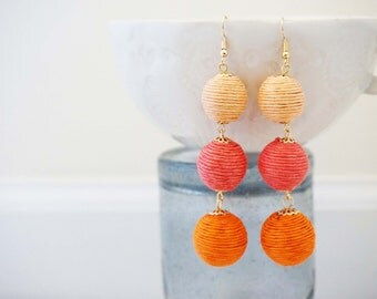 Orange and Pink Ombre Statement Earrings