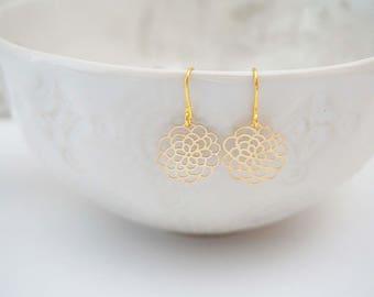 Gold Filagree Mum Flower Pendant Earrings