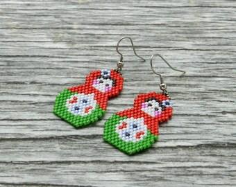 Matryoshka Doll Earrings, seed bead earrings, russian doll earrings, Babushka Jewellery, Folk Doll Jewellery, Nesting Dolls Earrings