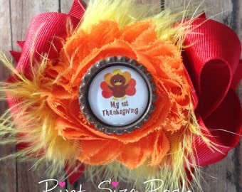 Baby Girl 1st Thanksgiving turkey hair bow infant Toddler bottle cap shabby puff red yellow brown orange