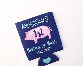 Pink Pig Birthday Party/Celebration Beverage Insulator/Hugger