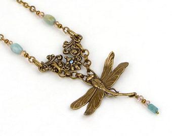 Dragonfly Necklace, Art Nouveau Filigree Jewelry, Victorian Filigree Necklace, Boho Dragonfly Jewelry, Art Nouveau Bridal Jewelry, Gift Me