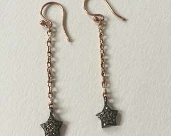 Diamond Star 9ct Rose Gold and Silver Earrings