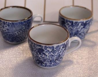 Set of Three Vintage Japan Demitasse Tea Cups Stamped on the Bottom!