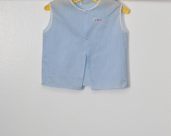 0-6 months: Vintage Baby Diaper Shirt, Blue with Butterfly Embroidery, Made in the Philippines