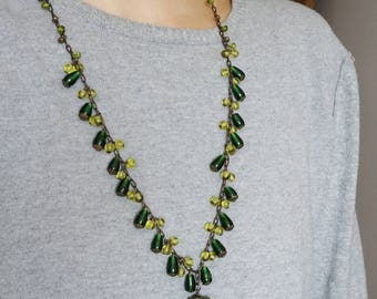 Long Indian Necklace Green Glass Necklace Tassel Necklace Arabic Jewelry Jasmine Necklace Bollywood Jewelry Gypsy Necklaces Moroccan Jewelry
