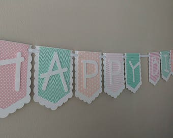 """Vintage """"HAPPY BIRTHDAY"""" Banner in Light Coral, Pink, and Minty Aqua"""