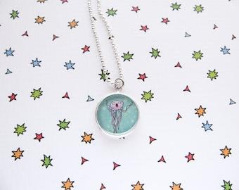 Fish Necklace, Cute Jellyfish Pendant, Ocean Accessories, Sea Jewelry, Aquarium Fish, Funny Fish, Pet Lover Gift
