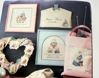 On Motherhood Cross Stitch  Pattern Leisure Arts 569 - Mother Gift - Bunnies Cross Stitch  Honoring Mother - by Sue McElhaney