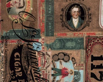 Multi Cigar Box Labels Fabric. Eclectic Elements Tim Holtz. Cigar Label Fabric. Cigar Box Fabric. Craft Fabric. Rustic Cotton Quilt Fabric.