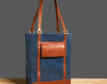 Waxed canvas tote. Womens canvas bag.  Canvas leather tote. Waxed canvas handbag. Waxed canvas purse.