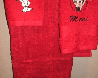 Betty Boop circle Personalized Bath towel, Hand Towel  & washcloth Set ANY COLOR