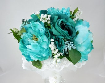 15 Piece Bridal Package, Brides Bouquet, Maid of Honor Bouquet, Corsages, Boutonnieres, Bridesmaid Bouquets, Turquoise and Teal