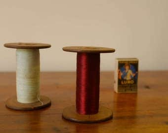 Vintage spools of thread, sewing thread, sewing, pair of spools, thread and light blue thread