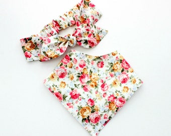 Baby headband and bandana bib gift set,baby gift set, vintage floral