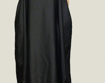 Black Kaftan/Asymmetrical Tunic/Maxi Black Dress/Black Tunic/Fashion Tunic/F1031
