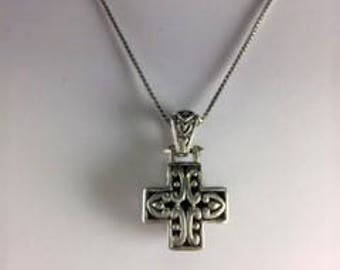 Chunky Two Sided Christian Cross Necklace with Ornate Silver Filigree Side with Black Background and Solid Black Onyx Side