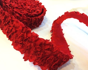 """50% Off  2"""" """"Red"""" Faux Petal Flower Ribbon 