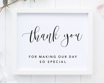 Wedding Thank You Sign, Special Day Thank You Poster, Wedding Reception Thank you, Thank you For Making Our Day, Printable Thank You Sign