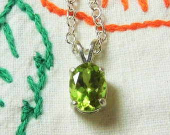 Peridot Pendant Green Peridot Necklace Facet Cut Peridot August Birthstone 8x6mm