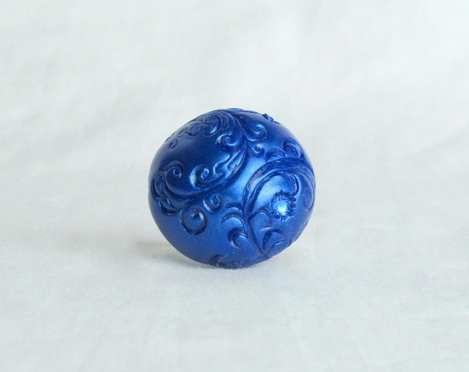 Handsculpted Navy Blue Polymer Clay  Swarovski Crystal Size 6.25 Ring
