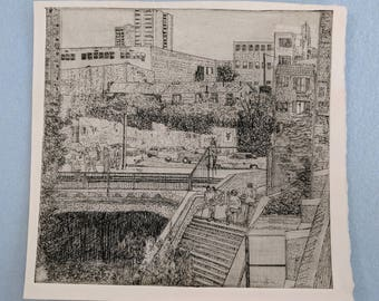 Vince Drony 'Ghirardelli Square' etching, 1975