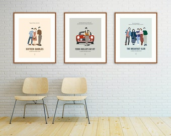 John Hughes Movie Posters - Sixteen Candles, Ferris Bueller, The Breakfast Club, Pretty in Pink, Simple Minds, Uncle Buck, Home Alone