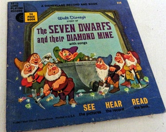 Vintage Walt Disney's Seven Dwarfs and their Diamond Mine Book and Record