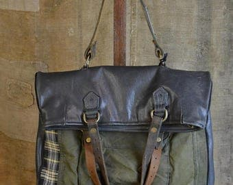 CUSTOM HANDBAG from military recycle/ Handmade in Italy / Eco friendly style Excelsior C2