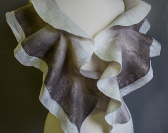 Ruffled Scarf, Felted wool Scarf, Gray Accessory, SJR, shades of gray scarf, gift idea