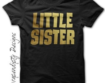 Little Sister Newborn Shirt - Gold Little Sister Shirt / Little Sister Big Sister Outfit / Gold Foil Tshirt / Coming Home Outfit Baby Girl