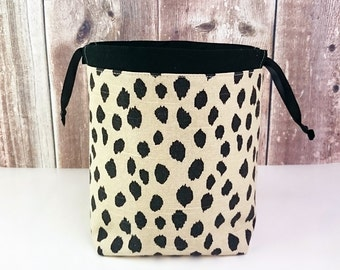 Sock Project Bag in Spotted Animal print, Knitting Project Bag for two at a time sock knitting, Drawstring Tote Bag - Small Socksack